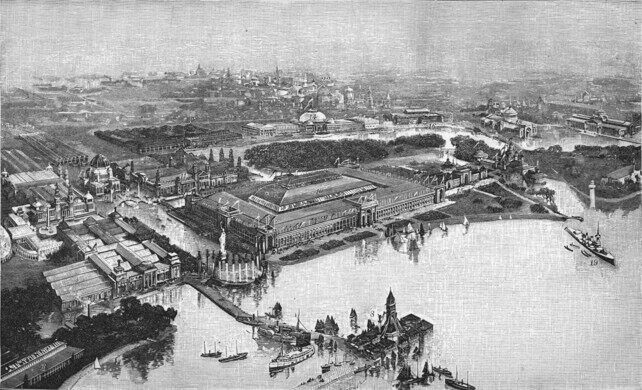 Aerial view of the exposition at Jackson Park in a print