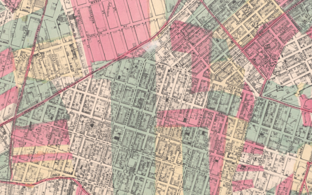Detail of 1869 map, encompassing Williamsburg, E. Williamsburg and Bushwick.