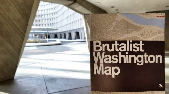 Image of Brutalist Washington, DC map at the U.S. HUD Building
