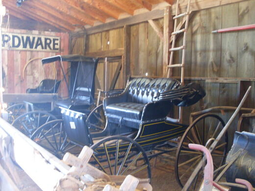 Buggies and carts in the Apacheland barn.