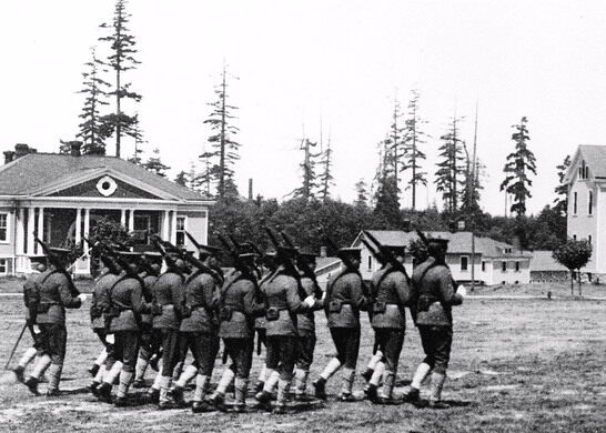 Soldiers Marching on Parade Grounds
