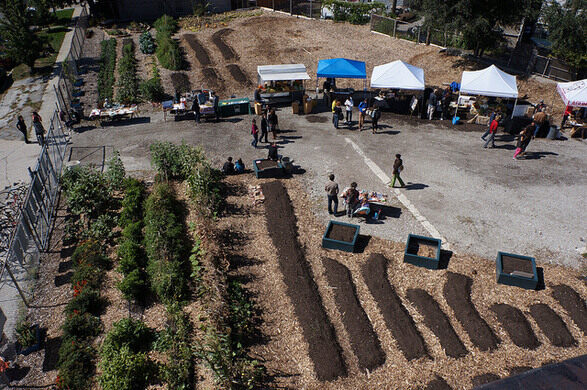 The Plant's outdoor farm takes shape in the facility's parking lot