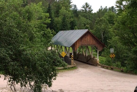 A covered bridge marks all that has been lost