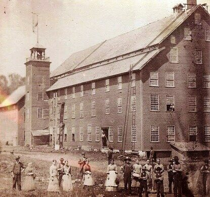 The five-story tall wool mill at Greenbank's Hollow in its prime
