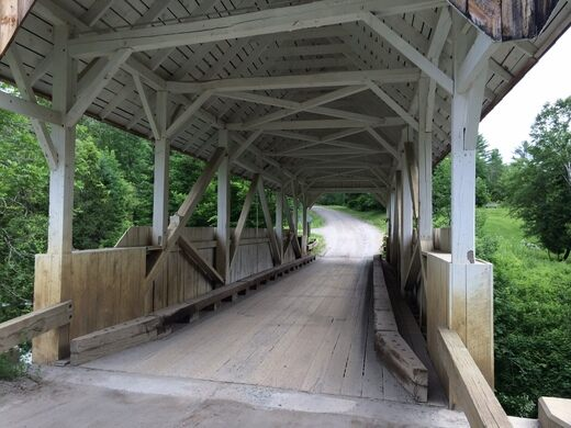 Looking across the restored covered bridge