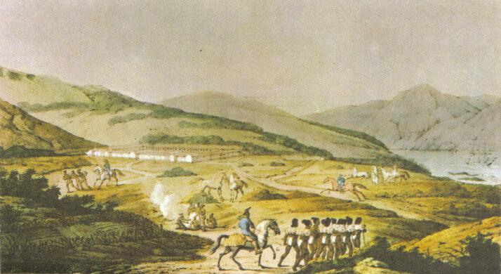 The Hispanic colonial era Presidio of San Francisco and the Golden Gate.