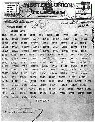 An encrypted message sent in 1917 by Arthur Zimmerman, the foreign minister in Berlin