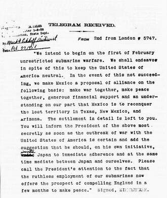 """The """"Zimmerman Telegram"""" decrypted, revealing Germany's aim for Mexico to wage war against the U.S. during WWI"""