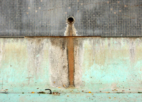 Dry fountain at Fort Moore Memorial