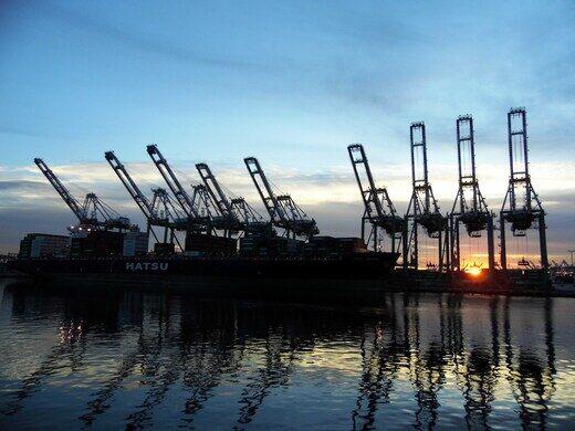 Sunrise over the Port of LA