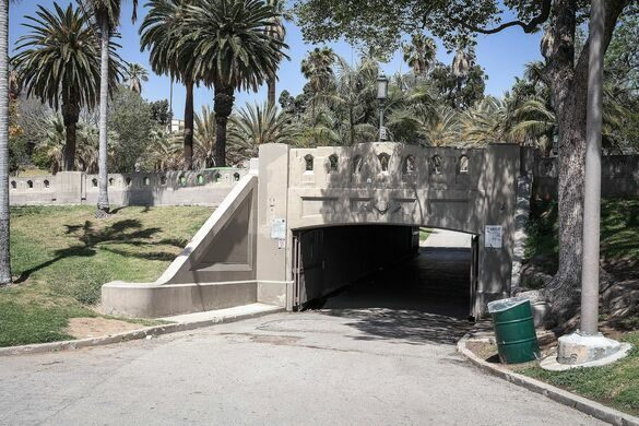 Wilshire Boulevard underpass at MacArthur Park in Los Angeles