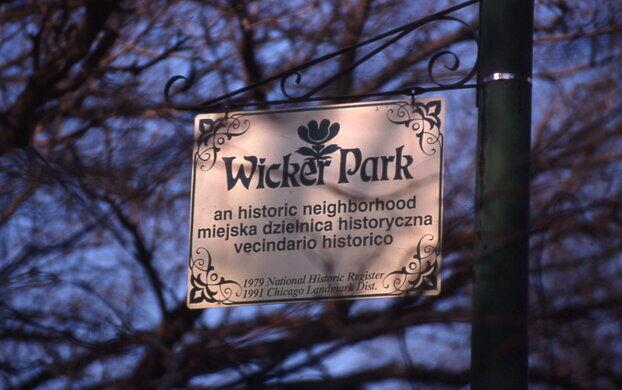 Wicker Park sign in 1999