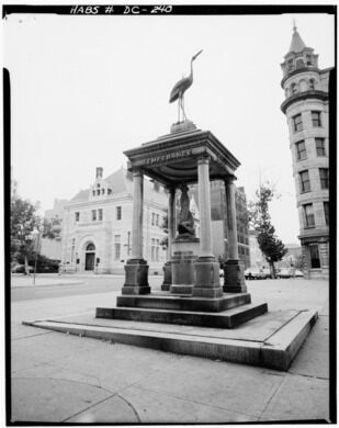 """""""Drink water not whiskey,"""" the Temperance Fountain"""