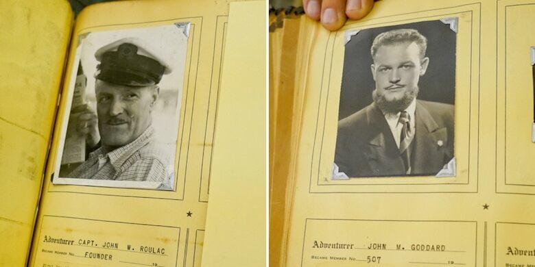 Club Founder Captain John W. Roulac and club member John M. Goddard in the Membership Book