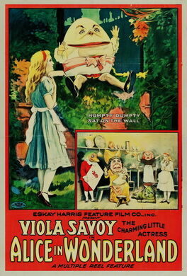 1915 poster for Alice in Wonderland featuring Viola Savoy, made by Gus Hill's Nonpareil Feature Film Company