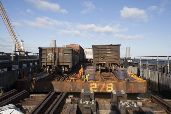 Floating Freight Barge Train Rail Line