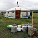 Fermented mare's milk outside a yurt in Mongolia.