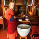 A monk serving fermented mare's milk in Mongolia.