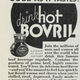 "Advert ""hot Bovril warms and cheers,"" January 1935."