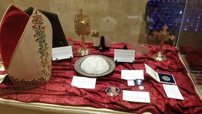 The cathedral houses collections of relics and artifacts organized into exhibits in the wings.