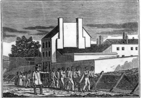 "From an 1836 anti-slavery broadside, ""Franklin & Armfield's Slave Prison"""
