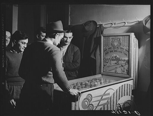 Steelworkers playing pinball in Aliquippa, Pennsylvania
