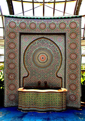 A traditional Moroccan fountain, a gift to Garfield Park from Morocco.