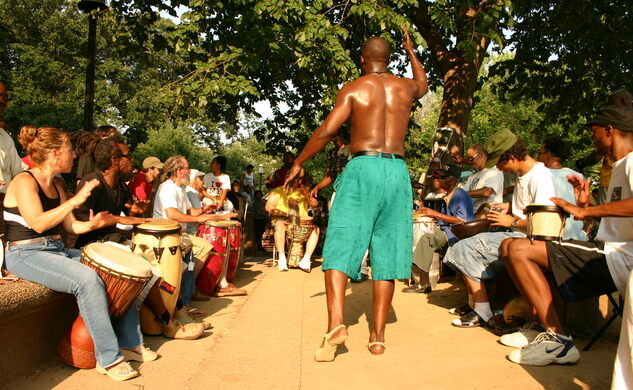 A man dances during a drum circle at Meridian Hill Park