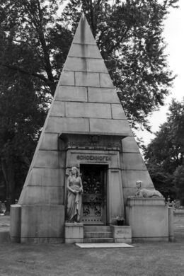 The Schoenhofen Monument, with an Egyptian-style pyramid.