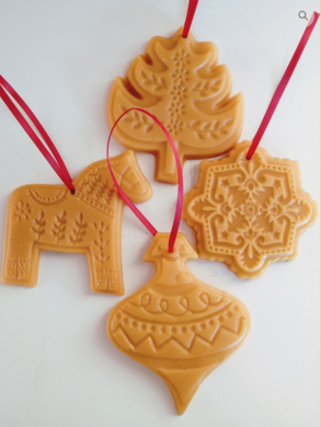 Ornaments made from local beeswax.