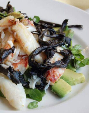 Crab and black trumpet salad