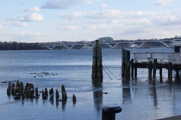 Derelict wharves melting into the Potomac.