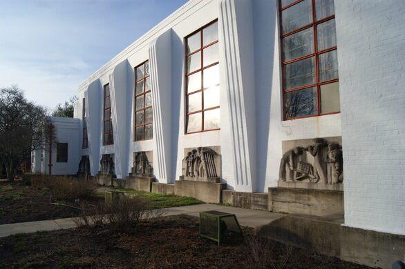 Art Deco architecture and sculpture adorn the local public elementary school