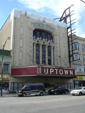 The meeting location for the scavenger hunt, the legendary Uptown Theatre.