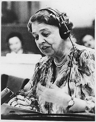 Eleanor Roosevelt at the United Nations in 1947.
