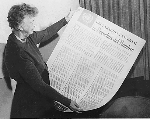 Eleanor Roosevelt and the United Nations Universal Declaration of Human Rights, which she helped write.