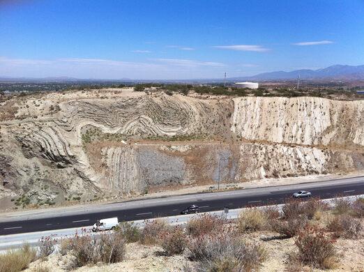 San Andreas Fault road cut.