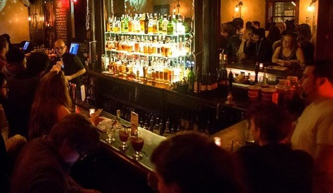 Front bar of the Trestle Inn.