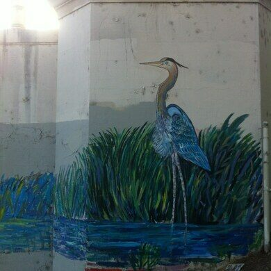 Blue heron mural at the L.A. River.