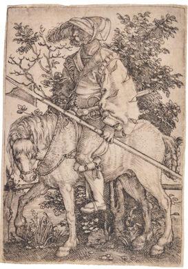 Barthel Beham. Halberdier on Horseback. Early 16th century. Engraving on laid paper.