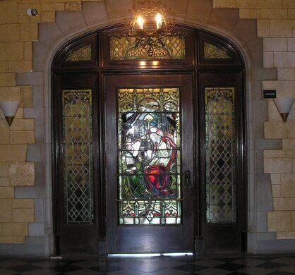 Mayslake Hall's front door.