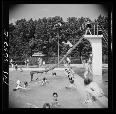 Greenbelt's swimming pool, circa 1935.