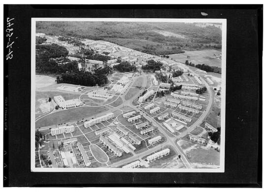 Aerial view of Greenbelt, Maryland, circa 1935.