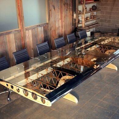 Motoart bamboo biplane conference table.