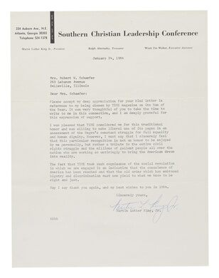 A affecting letter of gratitude, penned by Martin Luther King Jr.