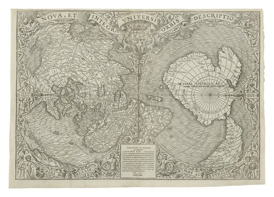The first printed map to depict the world from the poles.