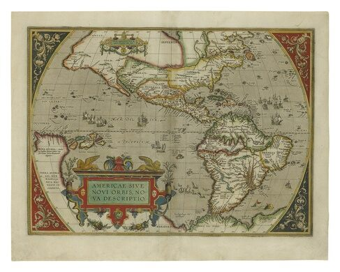 Full-sheet engraved map of the Americas, 1606.