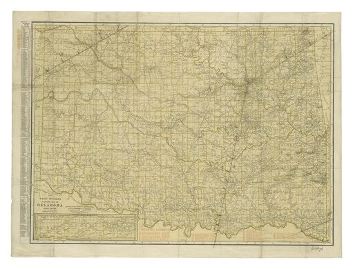 A map of Oklahoma used by Lindbergh in flight.