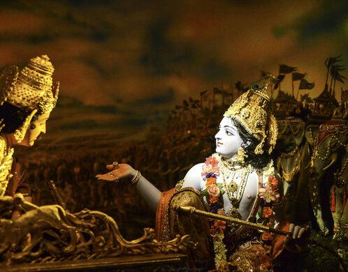 Diorama inside the Bhagavad-gita Museum.