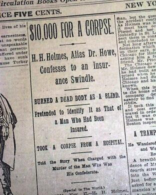 Newspaper clip of coverage for H.H. Holme's crimes.